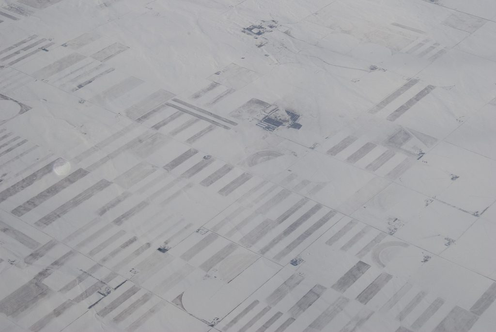 Snow and Fields (aerial view)