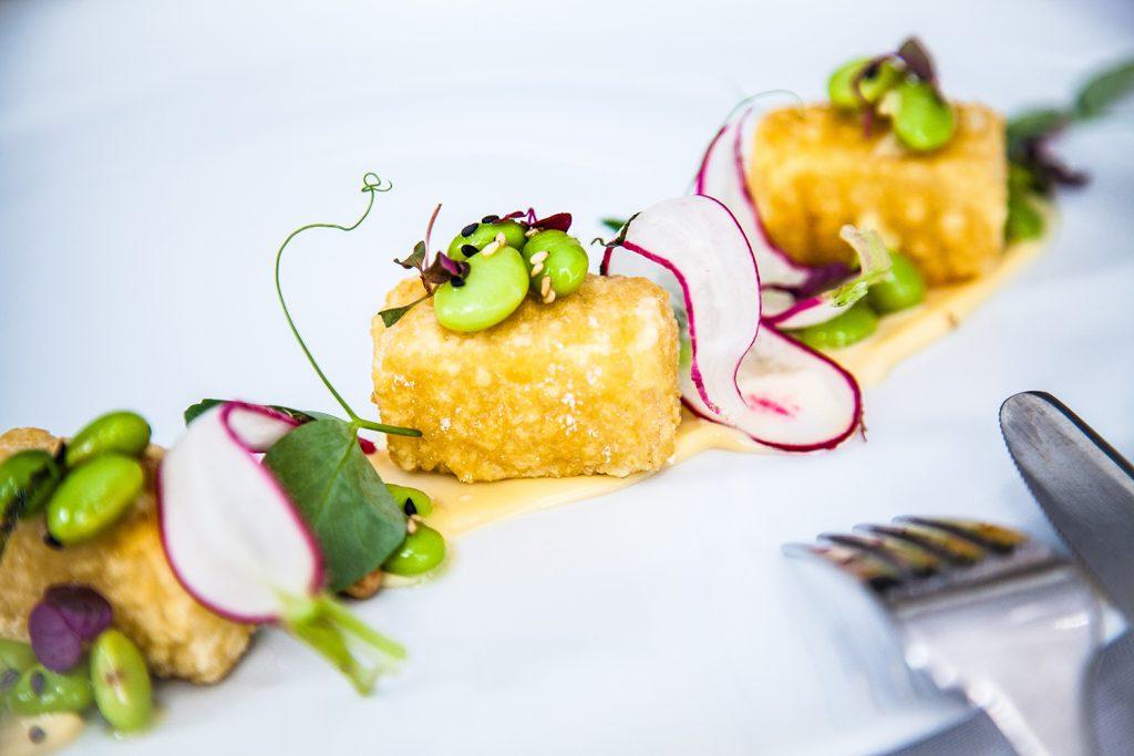Crispy tofu with ginger edamame