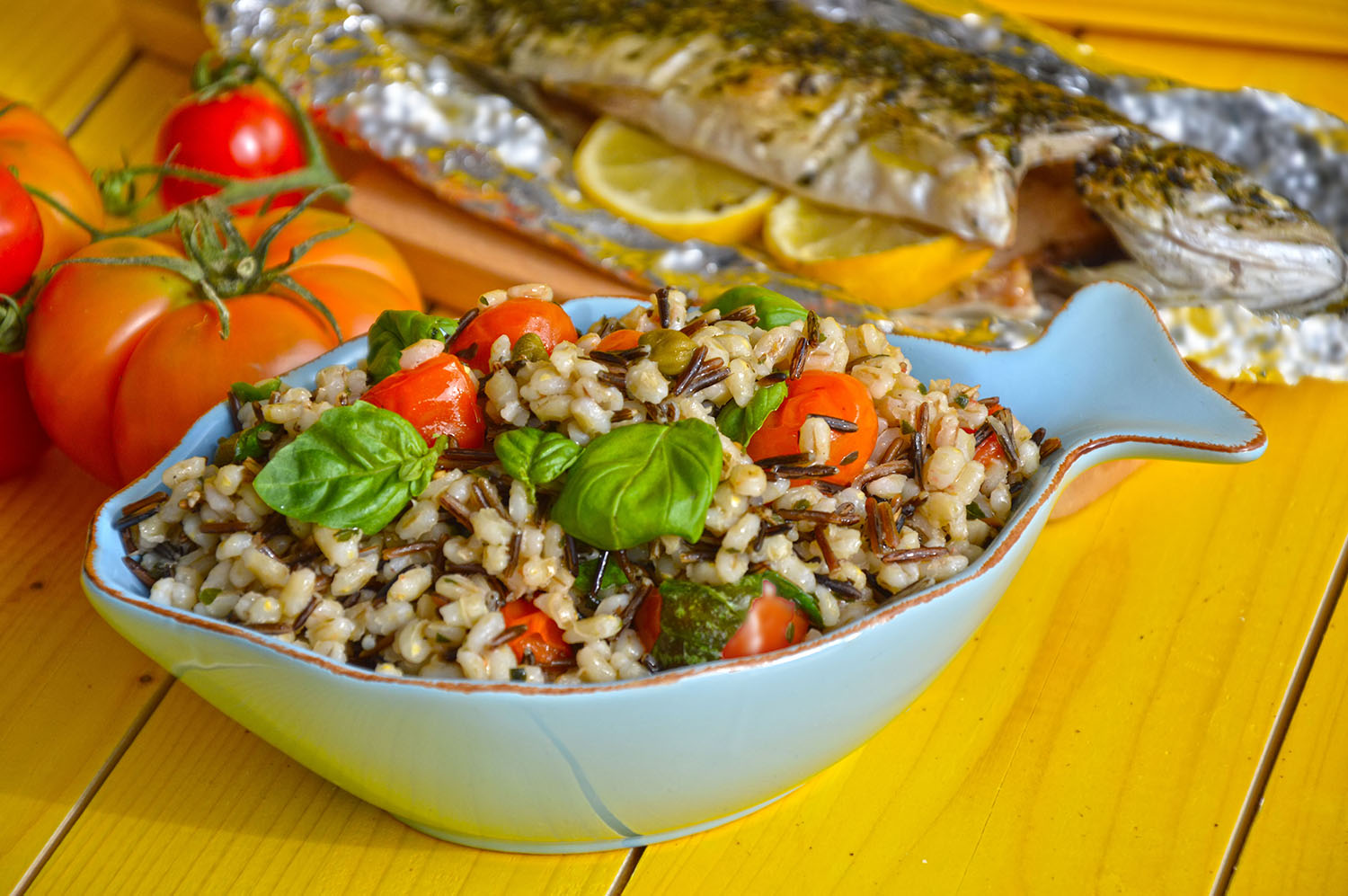 Toasted barley and wild rice salad