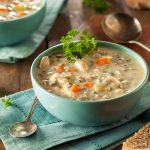 pulled chicken soup with wheat berries and vegetables
