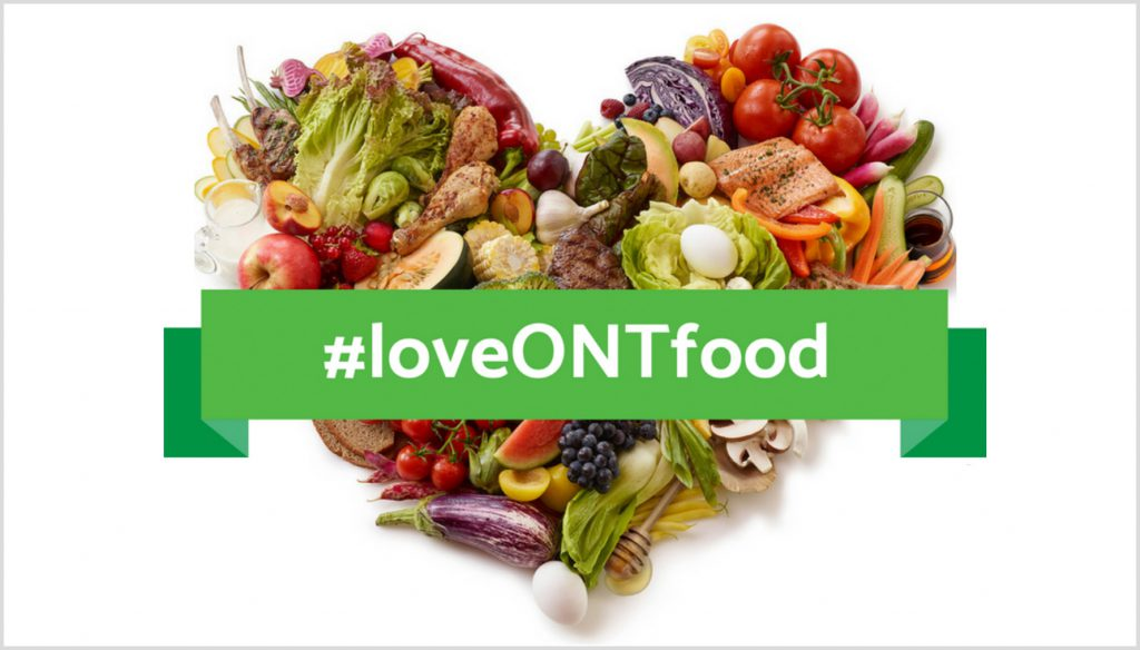a heart made out of different fresh foods with the hashtag #loveONTfood in a banner overtop