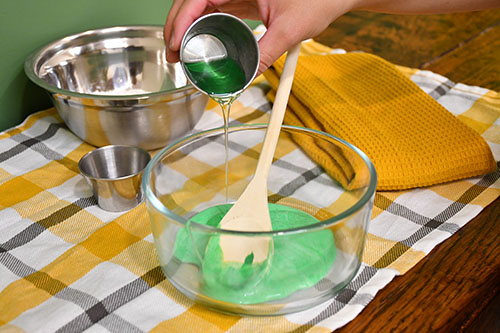 Adding dish soap to corn slime recipe