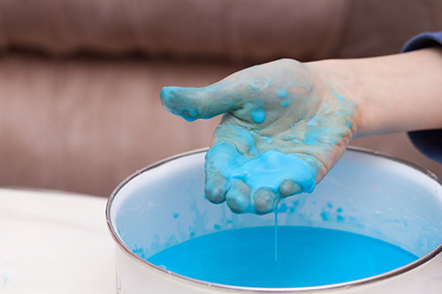 Blue Oobleck substance made of corn starch and water