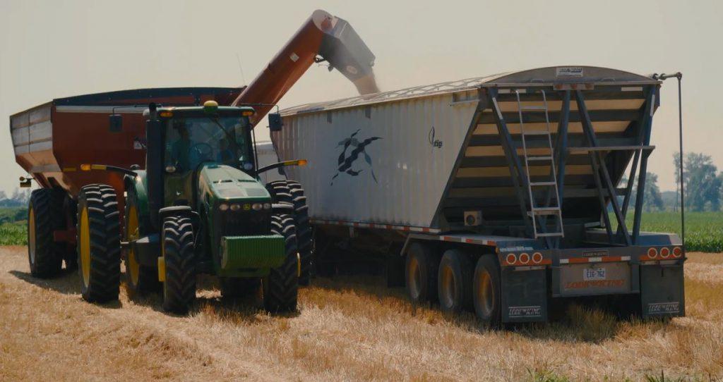 grain buggy unloading wheat into truck
