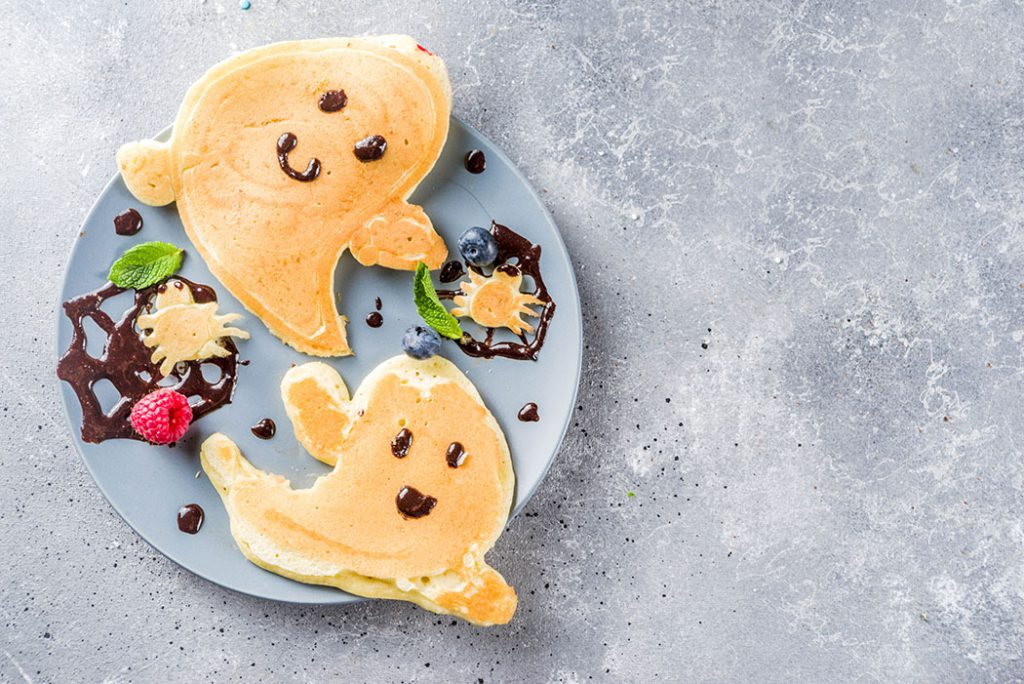 whole wheat pancakes cooked into the shape of a ghost!