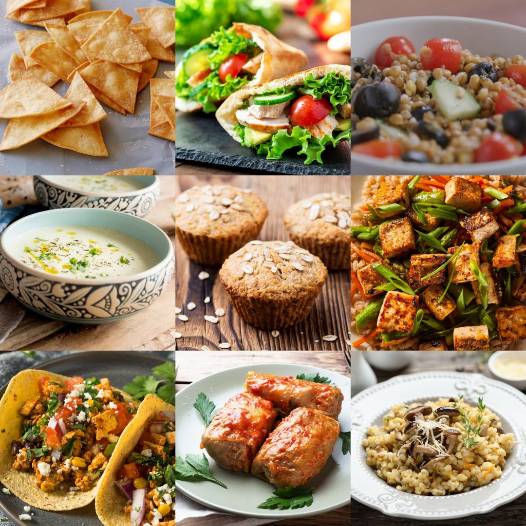 colourful collage of grain based meal ideas including muffins, soup, tofu and risotto