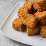 fried tofu on a white plate