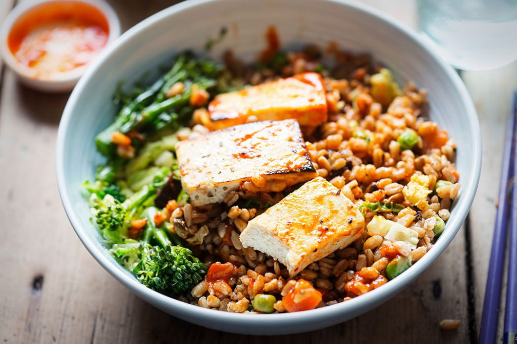 charred tofu and barley bowl