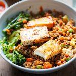 charred tofu and barley bowl