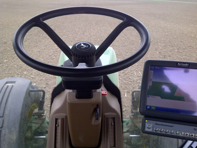 technology in a tractor during spring planting