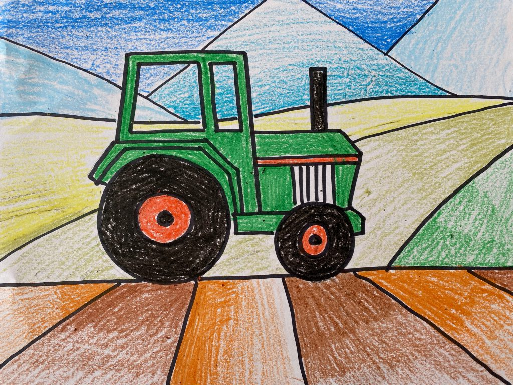 tractor drawn in negative space